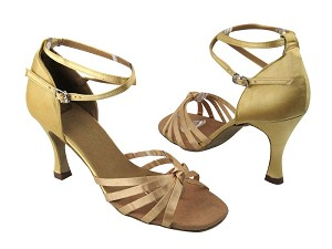 "6005 80 Light Gold Satin with 3.5"" Flare heel in the photo"