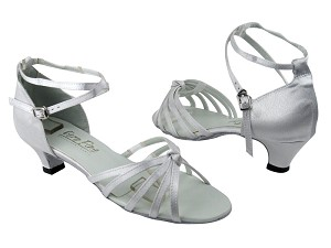 "6005 White Satin with 1.3"" Cuban heel in the photo"