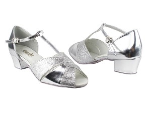 "6006 126 Silver Stardust_X_Silver Leather with 1.5"" Medium Heel in the photo"