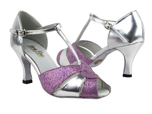 "6006 190 Purple Scale_X_55 Silver Leather with 2.75"" Heel in the photo"
