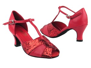 "6006 211 Red Leather_10 Red Sparkle with 2.5"" low heel in the photo"