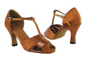 "6006 236 Dark Tan Satin_206 Ultra Copper_X with 3"" Heel in the photo"