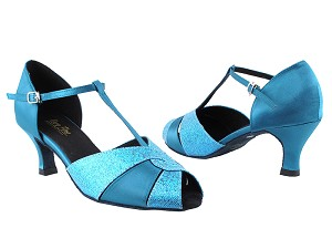 "6006 280 Blue Scale_X_267 Blue Satin with 2.5"" Heel in the photo"