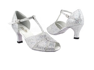 "6006 6 Silver Sparklenet with 2.5"" Heel in the photo"