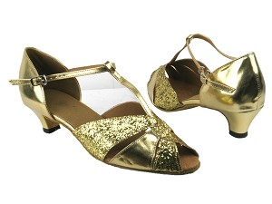 "6006 9 Gold Sparkle_Gold Leather with 1.3"" heel in the photo"