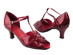 "6006 Red Patent with 2.5"" Low heel in the photo"