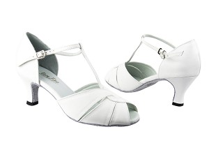 "6006 White Leather with 2.5"" low heel in the photo"