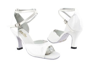 6012 210 White Patent with 3 Heel in the photo