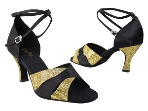 "6016 113 Gold Scale_S_H_38 Black Satin_2701 BackStrap Without T Strap with 3"" heel in the photo"