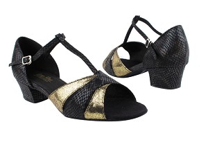 "6016 242 Laser Gold_85 Black Snake with 1.5"" Medium Heel in the photo"