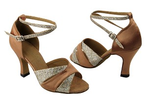 "6016 Gold Sparklenet (S) & Brown Satin (H) & 2701 BackStrap without T strap with 3"" Heel in the photo"