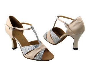"6016 Silver Sparklenet & Light Brown Satin with 3"" Heel in the photo"