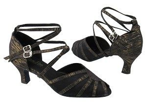 "6018 124 Black Gold Stripe_Black Mesh_1630 BackStraps with 2.5"" low heel in the photo"