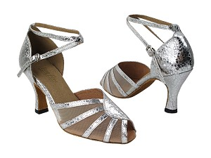 "6018 205 Ultra Silver_54 Flesh Mesh with 3"" High Heel in the photo"