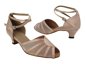 "6018 Light Brown Satin_Flesh Mesh with 1.3"" Heel (387) in the photo"