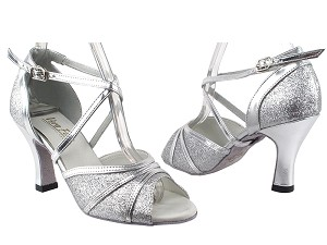 "6023 126 Silver Stardust_Silver Leather Trim with 3"" Heel in the photo"