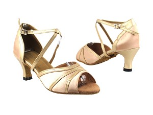 "6023 135 Light Brown Satin_57 Light Gold Leather Trim with 2.5"" Heel in the photo"