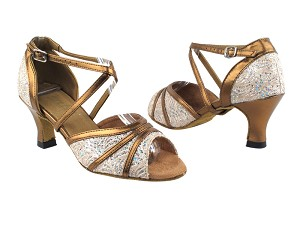 "6023 142 Brown_171 Dark Tan Gold PU Trim with 2.5"" Heel in the photo"