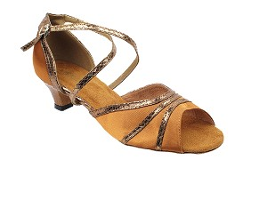 "6023 236 Dark Tan Satin_223 Snake Copper Trim with 1.3"" Cuban Heel in the photo"