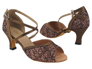 "6023 314 Copper Gold Sparkle_316 Coffee Satin Trim with 2.5"" Low Heel (2899) in the photo"