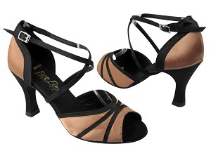 "6023 81 Brown Satin_Black Satin Trim with 3"" heel in the photo"