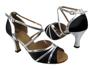 "6023 Black Satin_Silver Leather Trim with 3"" heel in the photo"