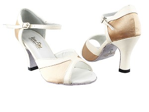 "6024 135 Light Brown Satin_15 Creamy White PU Trim with 3"" Heel in the photo"