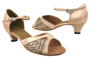 "6024 217 Copper Sparkle_136 Light Brown Satin_1616 BackStrap with 1.3"" Heel in the photo"