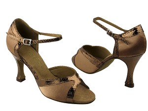 "6024 231 Dark Tan Satin & 223 Copper Snake Trim with 3.5"" Heel in the photo"
