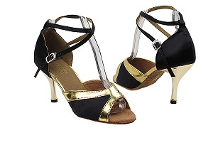 "6024 Black Satin_Gold Trim_2701 BackStrap with 3"" Slim Gold Plated Heel in the photo"