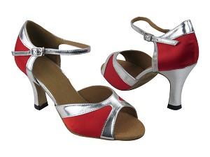 "6024 Red Satin_Silver Trim with 3"" heel in the photo"