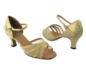 "6027 173 Light Gold Scale & Flesh Mesh with 2.5"" Low Heel in the photo"