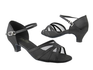 "6027 Black Satin_Black Mesh with 1.3"" Cuban heel in the photo"