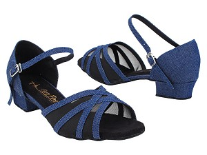 "6027LEDSS Dark Blue Jean_Black Mesh with 1"" Heel (8881) in the photo"