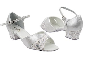 "6029 141 White_F_H_259 Silver Satin_F_B with 1.5"" Medium Heel in the photo"