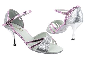 "6030 126 Silver Stadust_150 Purple PU Trim_1706 BackStrap with 3"" Slim Silver Plated Heel in the photo"