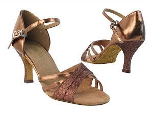 "6030 212 Copper Stardust_171 Darl Tam Gold PU with 2.75"" heel in the photo"