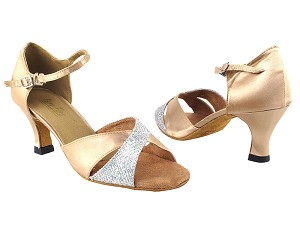 "6029 #6 Silver Sparklenet & #135 Light Brown Satin with 2.5"" Heel in the photo"