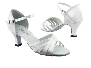 "6030 White Satin with 2.5"" low heel in the photo"
