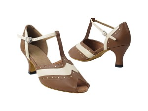 "6034 133 Coffee Brown PU_15 Creamy White PU with 2.5"" heel in the photo"