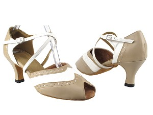 "6035 60 Tan Leather_White PU with 2.5"" Heel in the photo"