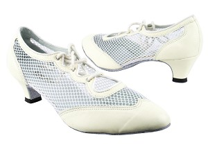 "6823 Creamy White Leather_177 White Mesh with 1.3"" Cuban heel in the photo"