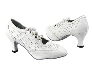 "6823 White Perforated Leather with 2.5"" low heel in the photo"