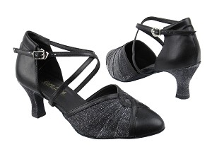 "6825B 105 Black Glitter Satin_Black Leather with 2.5"" low heel in the photo"