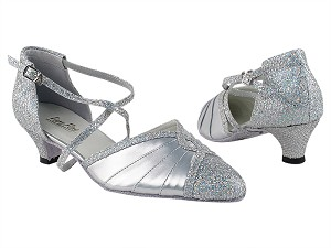 "6825B 6 Silver Sparklenet_H_151 Soft Silver PU with 1.3"" Cuban Heel in the photo"