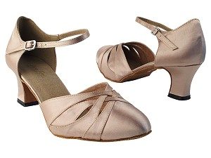 "6830 135 Light Brown Satin with 2.2"" Thick Cuban heel in the photo"