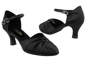"6830 Black Satin with 2.5"" Heel in the photo"