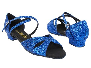 "803FT Blue Sparkle with 1"" Women Heel in the photo"