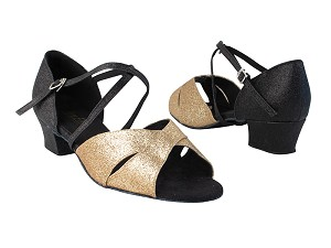 "803_6029 125 Gold Stardust_F_127 Black Stardust_B_X-Strap Arch with 1.5"" Medium Heel in the photo"