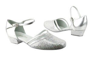 "8881 107 Silver Scale_H_119 Silver Pu Trim_B with 1"" Women Heel in the photo"